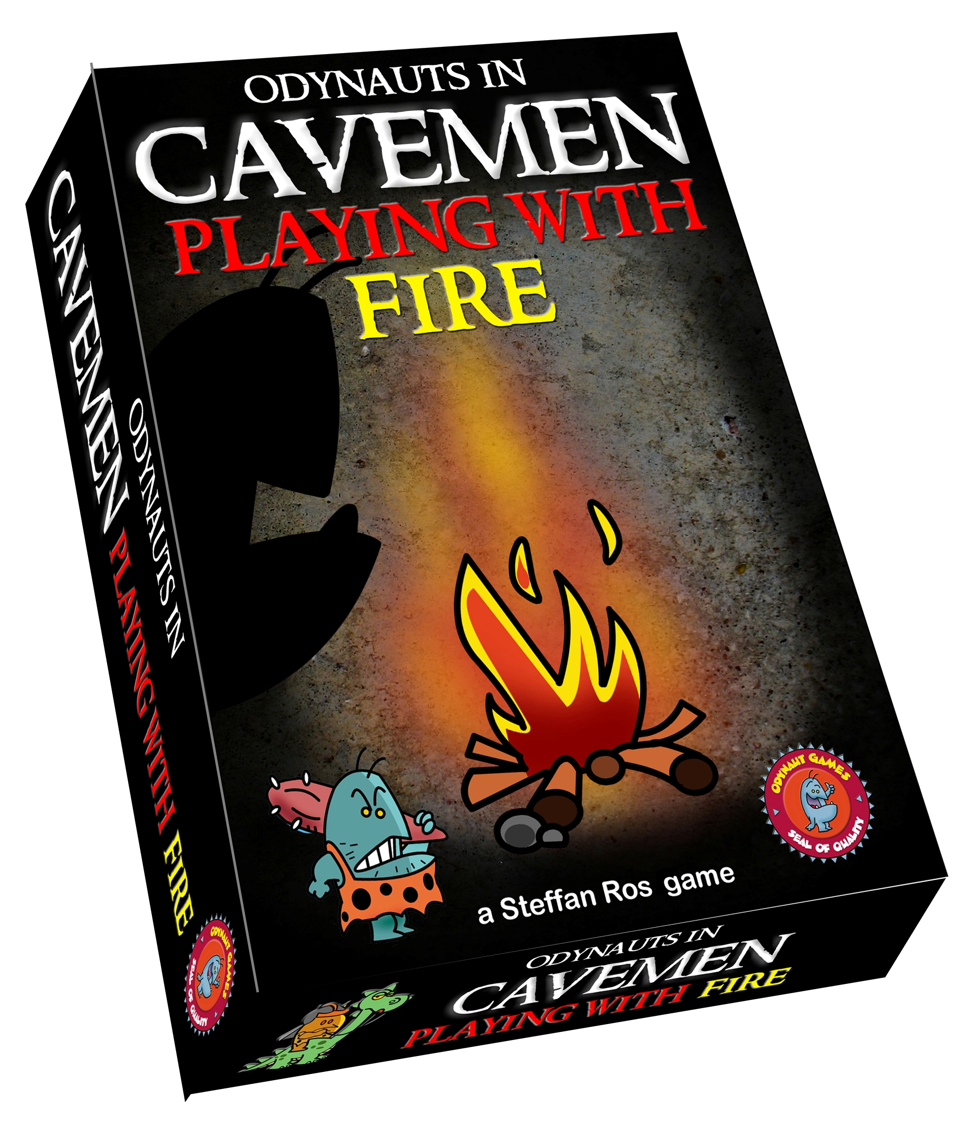Cavemen playing with fire, Odynaut Games, doos