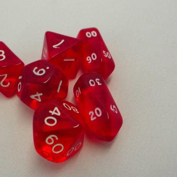 Transparant set dobbelstenen - 6 delig rood